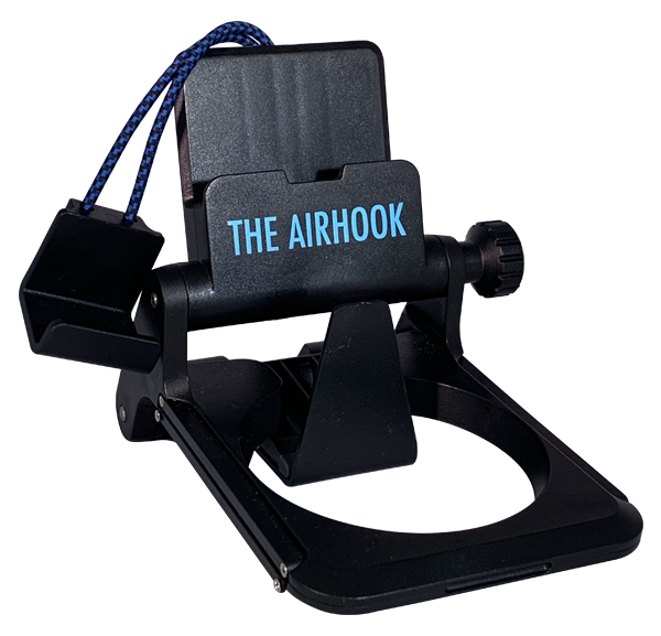 The Airhook 2.0 Airplane Seat Electronic Device and Cup Holder Black