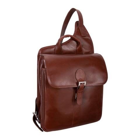 "Siamod Sabotino 14"" Leather Vertical Messenger Bag Cognac"