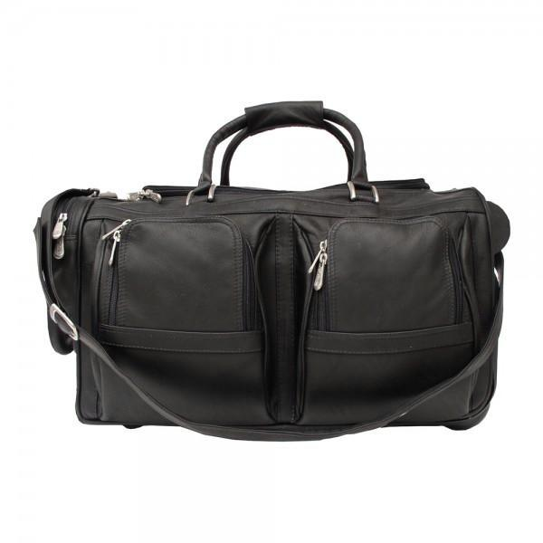 Piel Leather Duffel with Pockets On Wheels Assorted Colors