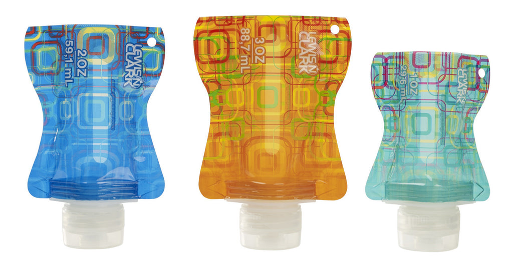 Lewis N Clark Flat Bottle Set 3 Pk Assorted Colors