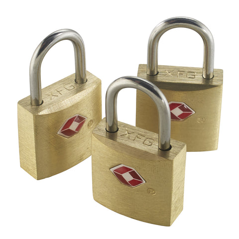 Lewis N Clark TSA 3 Pk Mini Brass Padlocks