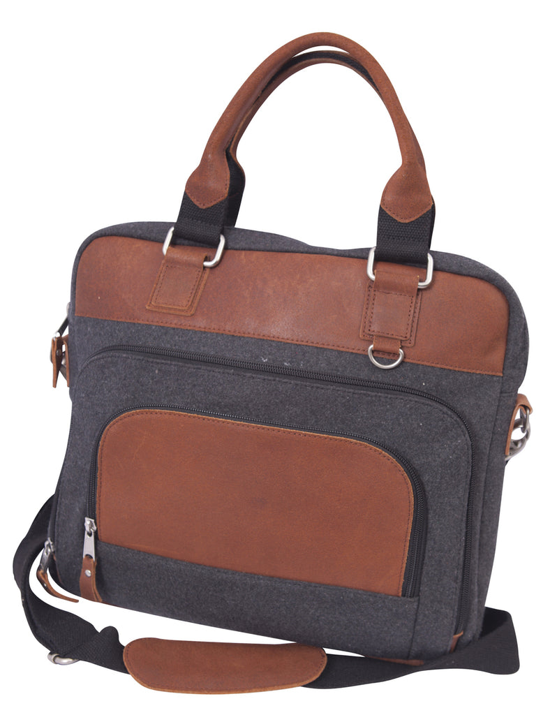 Canyon Outback Jonah Wool Briefcase Charcoal