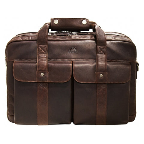 Mancini Buffalo Double Compartment Briefcase for 15.6'' Laptop Brown