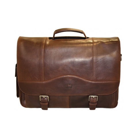 Mancini Buffalo Porthole Briefcase for 15.6'' Laptop or Tablet Brown