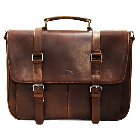 Mancini Buffalo Single Compartment Briefcase for 15'' Laptop Brown