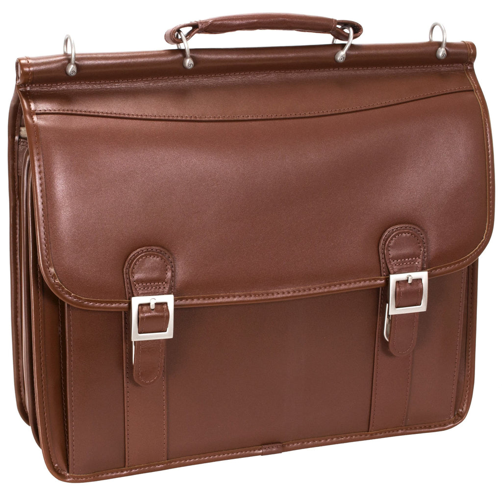 "McKlein USA Halsted 15.6"" Leather Double Compartment Laptop Briefcase Assorted Colors"