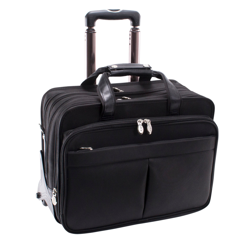 "McKlein USA Roosevelt 17"" Nylon Detachable Wheeled Laptop Briefcase with Removable Sleeve"