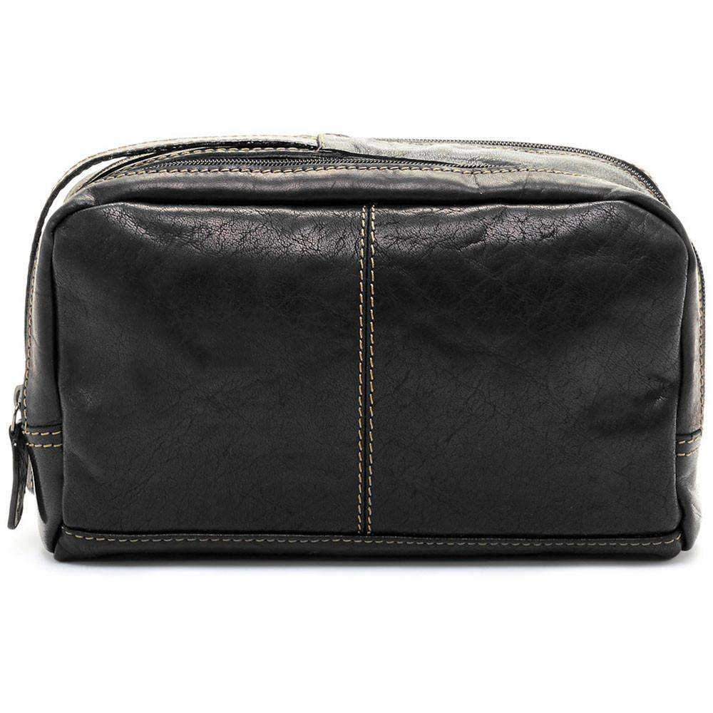 Jack Georges Voyager Leather Zip Toiletry Bag Black