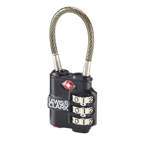 Lewis N Clark TSA Heavy Duty Cable Lock Black