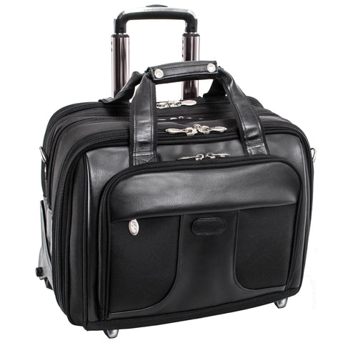 "McKlein USA Chicago 15.6"" Nylon Patented Detachable Wheeled Laptop Overnight with Removable Briefcase Black"