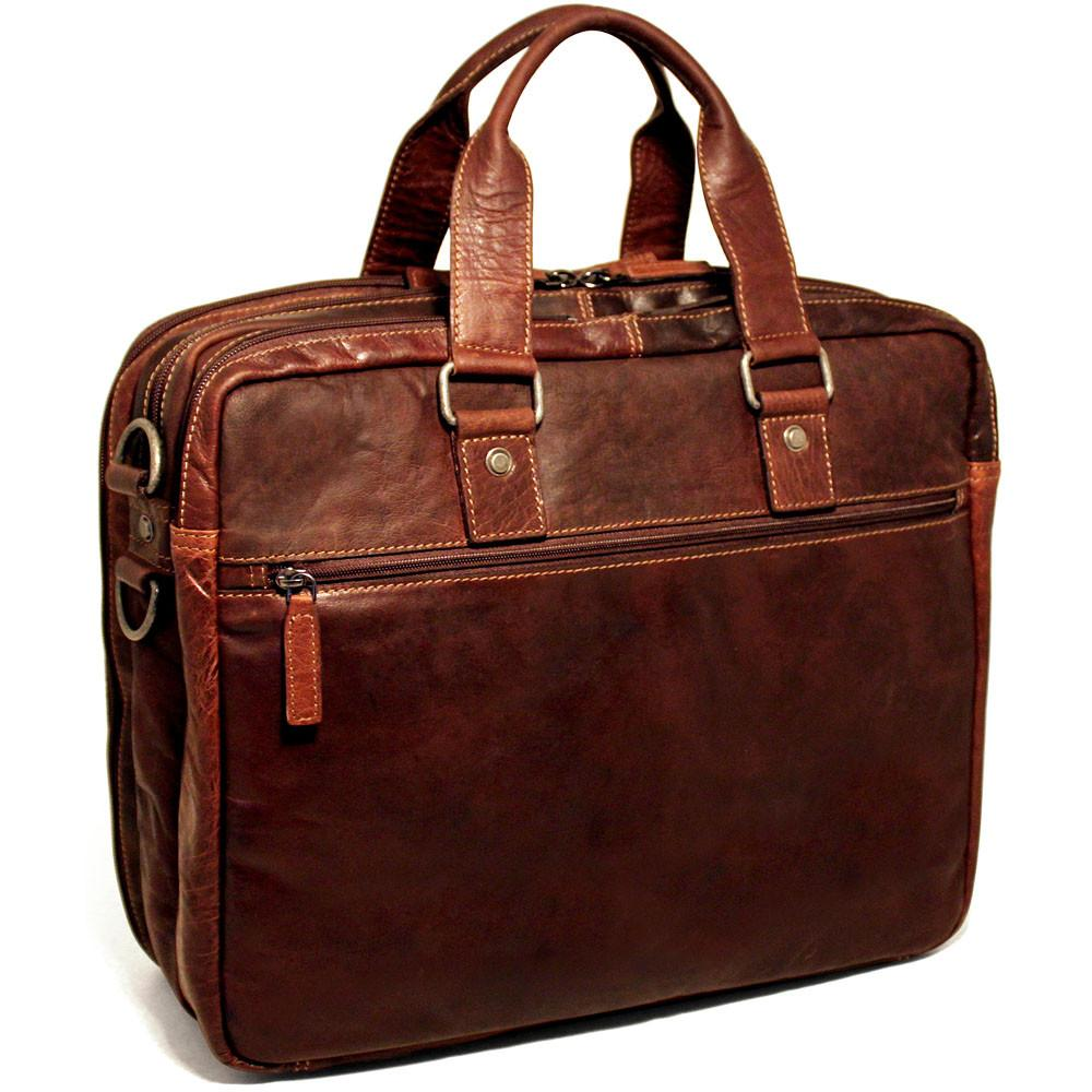 Jack Georges Voyager Large Triple Gusset Travel Briefcase Brown