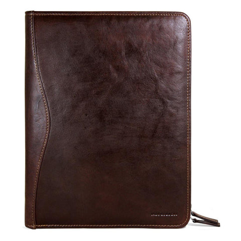 Jack Georges Voyager Collection Letter Size Zip Around Writing Pad Brown