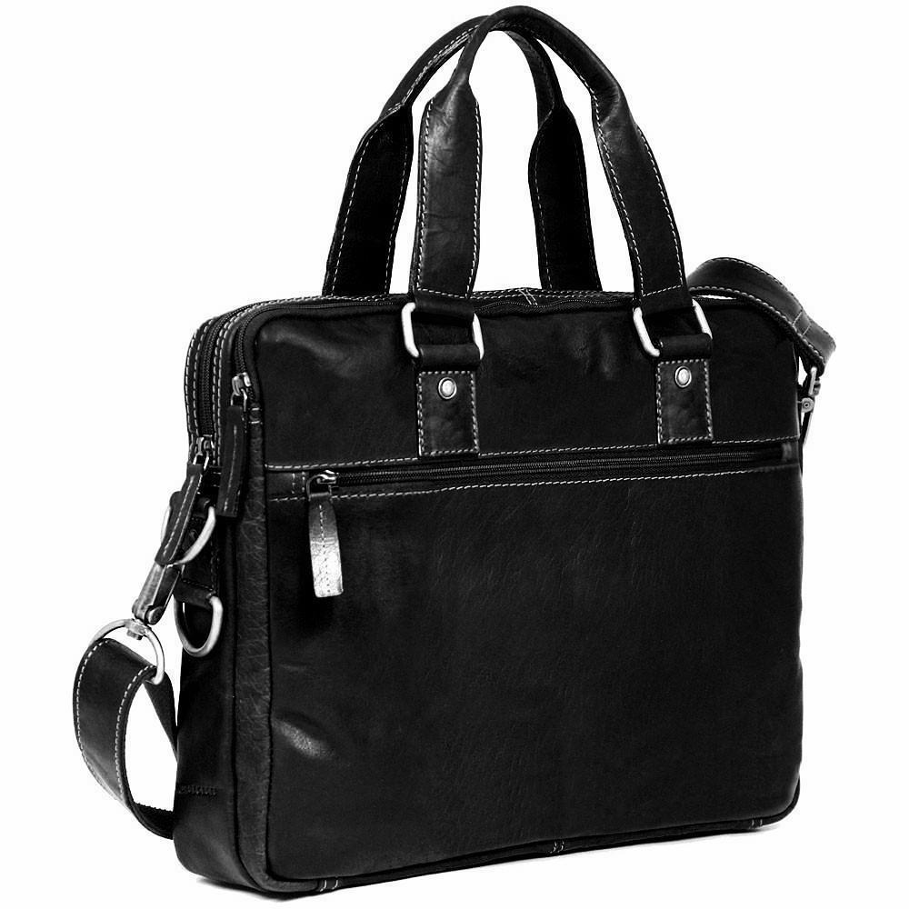 Jack Georges Voyager Slim Double Entry Top Zip Briefcase Black