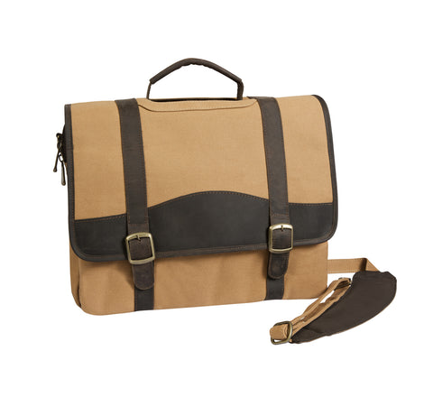 Canyon Outback Elk Valley Canvas and Leather Computer Briefcase Tan