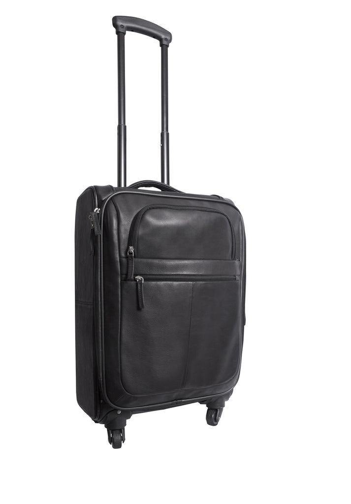 Canyon Outback Romeo Canyon 22 Inch Spinner Carry-On Leather Suitcase Black