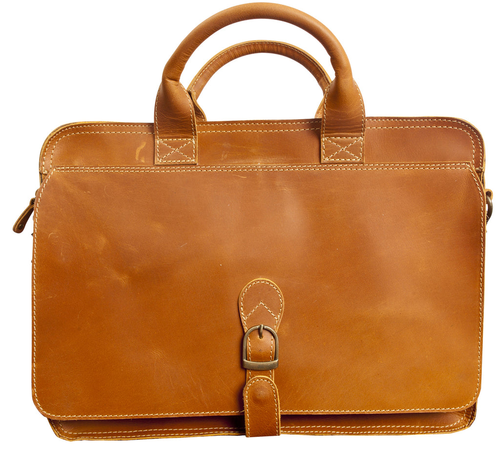 "Canyon Outback Texas Canyon 15"" Leather Computer Briefcase Tan"