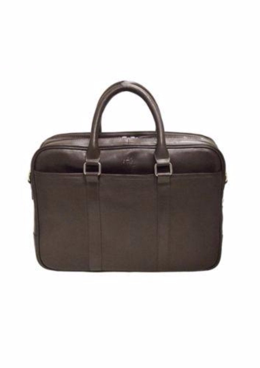 Mancini Colombian Collection Zippered Double Compartment Briefcase Brown