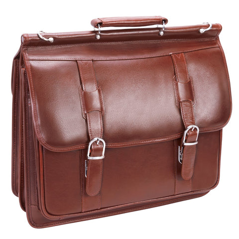 "Siamod Signorini 15.4"" Leather Double Compartment Laptop Briefcase Cognac"