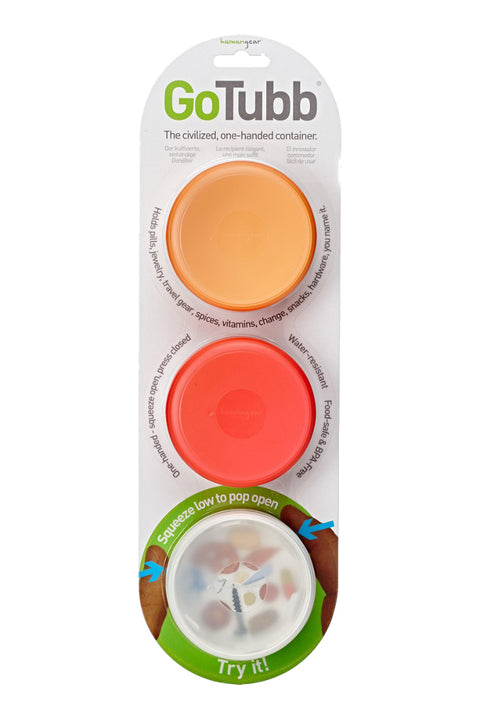 Humangear Go Tubbs Medium Containers 3 Pack Orange/Red/Clear