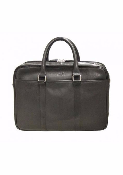 Mancini Colombian Collection Double Zippered Compartments RFID Secure Briefcase Black