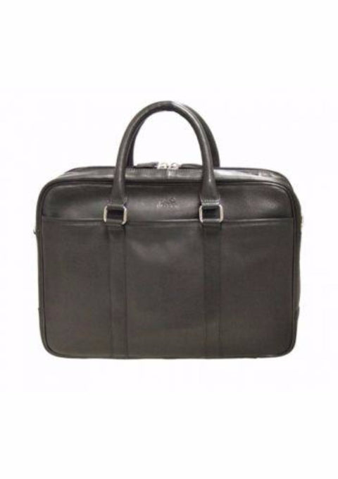 Mancini Colombian Collection Zippered Double Compartment Briefcase Black