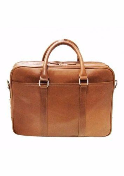 Mancini Colombian Collection Zippered Double Compartment Briefcase Cognac
