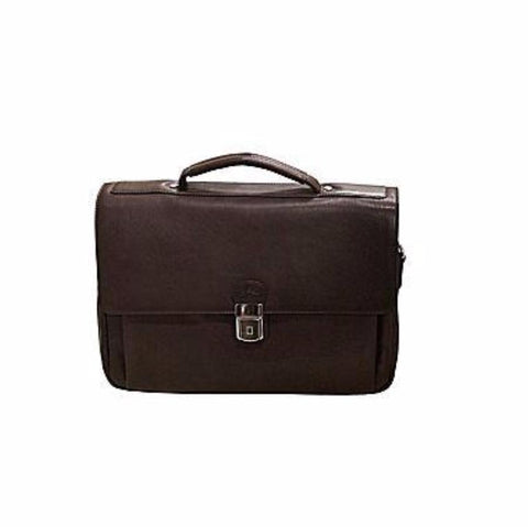 Mancini Colombian Collection Triple Compartment Briefcase Brown
