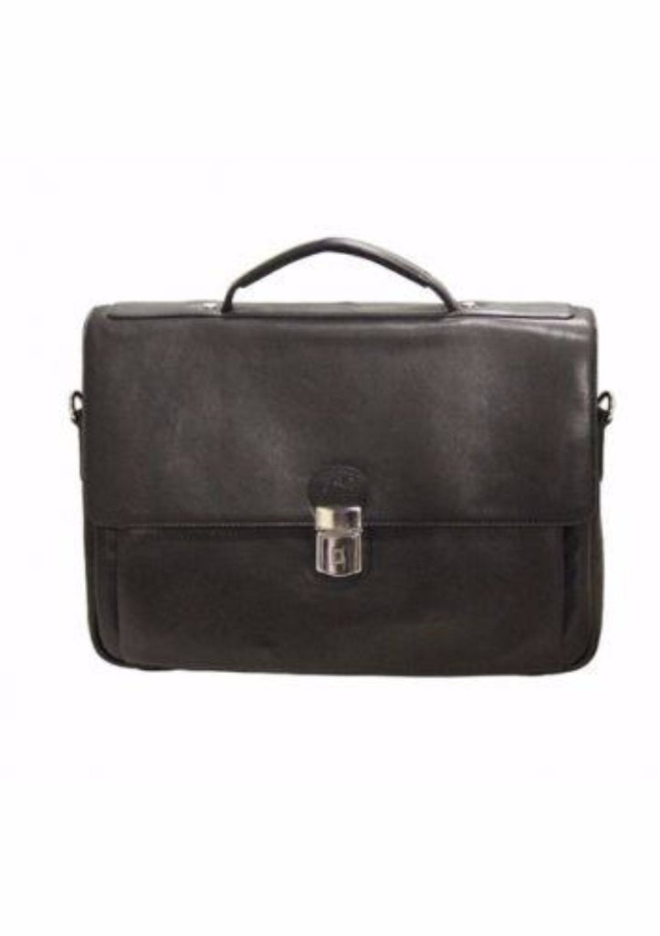 Mancini Colombian Collection Triple Compartment Briefcase Black