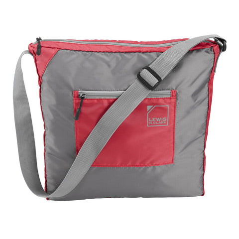 "Lewis N Clark 15"" Packable Tote with Noeprene Zip Pouch Red/Gray"