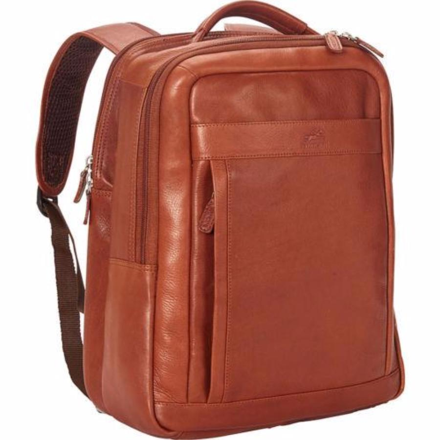 Mancini Colombian Collection RFID Secure Backpack for Laptop and Tablet Cognac
