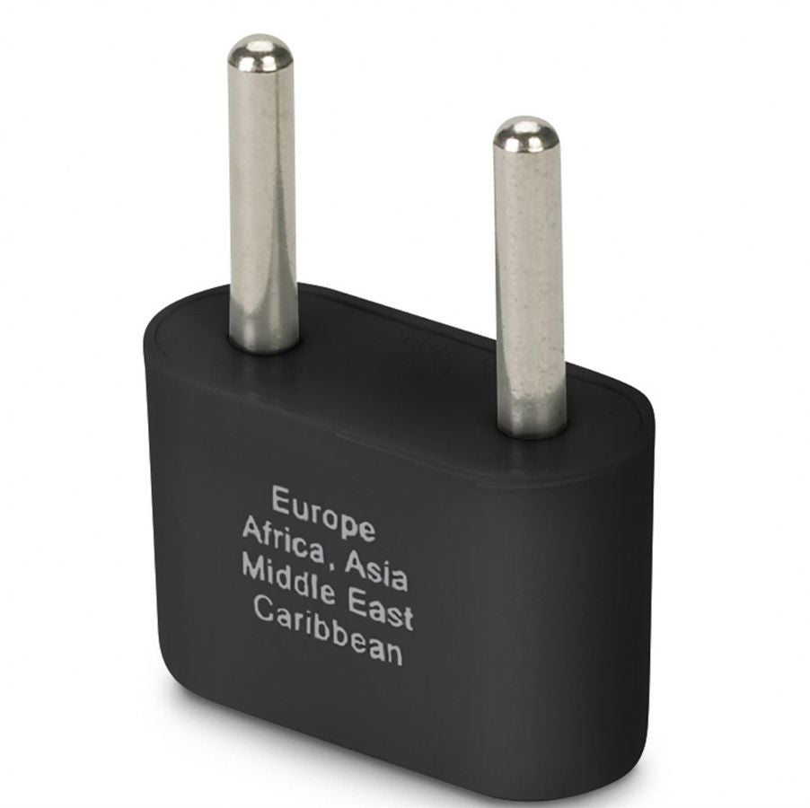 Smooth Trip Europe & Asia Ungrounded Plug Adapter Black