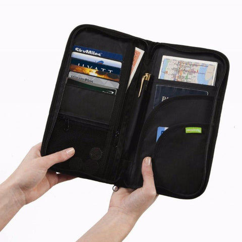 Smooth Trip RFID Blocking Travel Documents Organizer Black