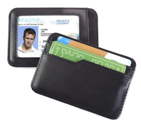 Smooth Trip RFID Blocking Leather Card & ID Case Black