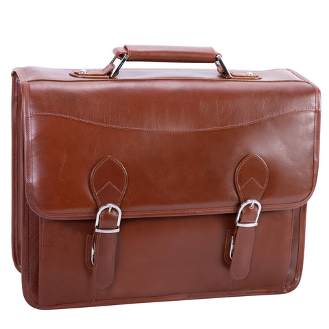 "Siamod Belvedere 15.4"" Leather Double Compartment Laptop Briefcase Cognac"