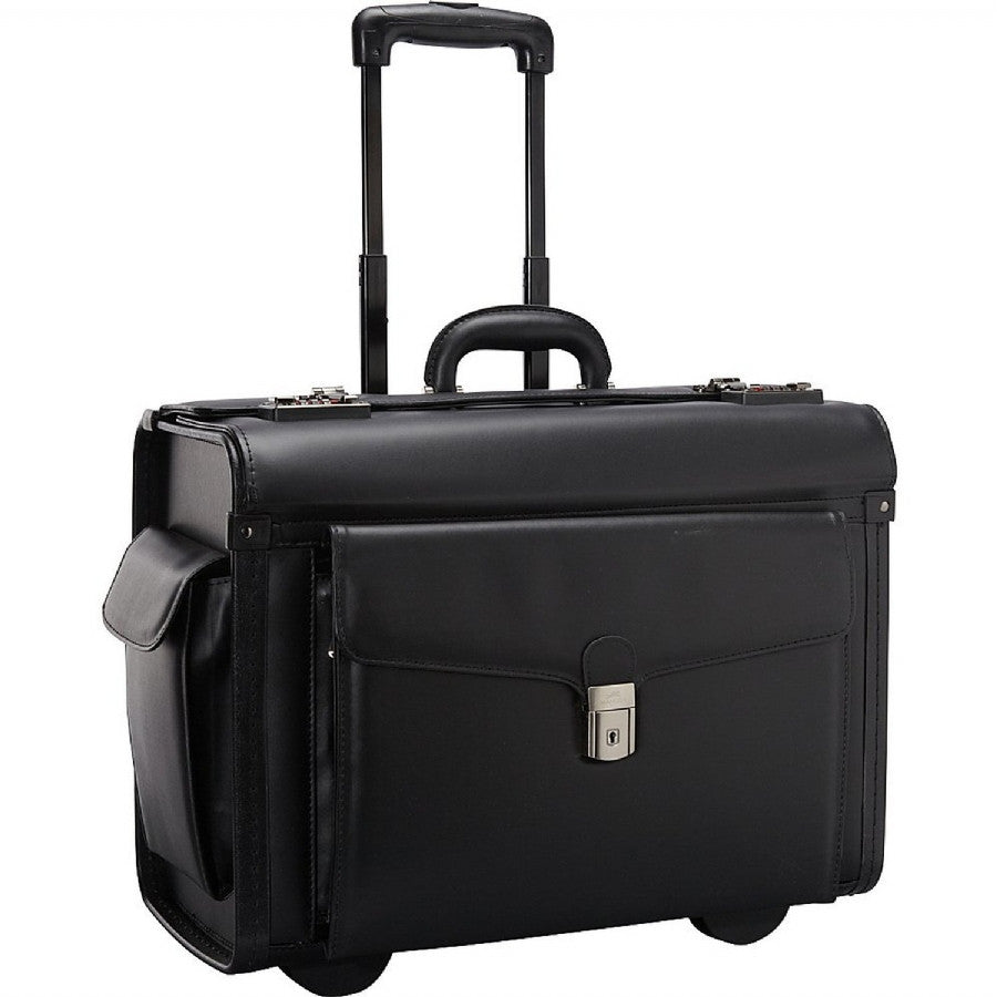 Mancini Leather Goods Wheeled Catalog Case Black