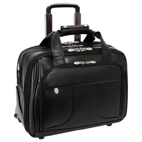 "McKlein USA Chicago 15.6"" Leather Patented Detachable Wheeled Laptop Overnight with Removable Briefcase Black"
