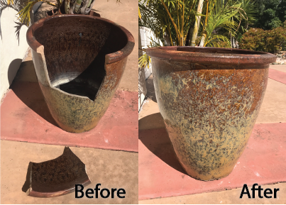 Broken vase repair, granite repair
