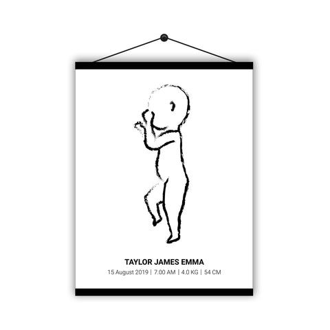 Personalised Baby Birth Poster Print Outline Drawing Hanging Magnetic Poster - Ai Printing