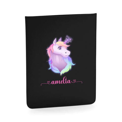 Personalised Name Initial Colorful Cute aesthetic Unicorn - Boutique iPad slip - Ai Printing