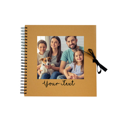 Personalised Photo Text Wedding Album Memory Spiral Bound Kraft Scrapbook - Brown - Ai Printing