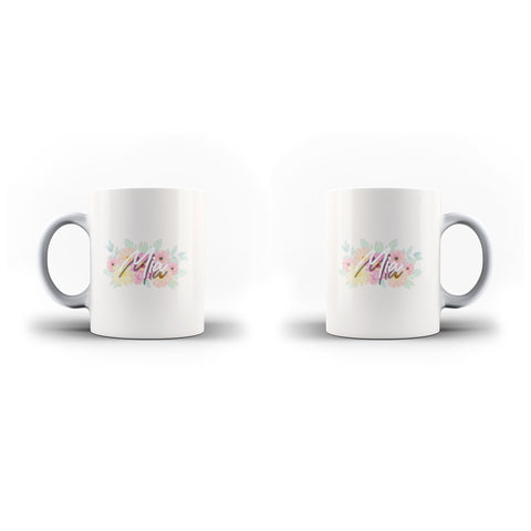 Personalised Name Initial Floral Light Color Pattern Background - Personalised Mug - Ai Printing