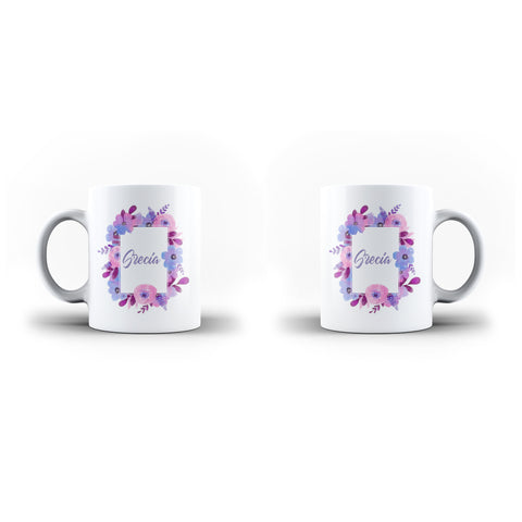 Personalised Name Initial Watercolor Floral Background - Personalised Mug - Ai Printing