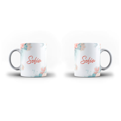 Personalised Name Initial Soft Floral Pattern Gift - Personalised Mug - Ai Printing