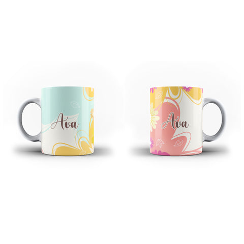 Personalised Name Initial Floral Colorful Artwork Background - Personalised Mug - Ai Printing