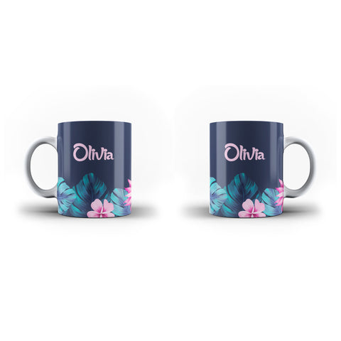 Personalised Name Initial Tropical Floral Background - Personalised Mug - Ai Printing