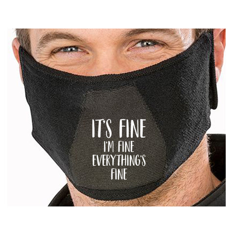 I'm Fine Funny Face Mask Quote - Funny Natural yarn antibac Face Mask(face mask for sale,face protection mask,Funny Face mask,best face masks,reusable face mask,breathable face mask)