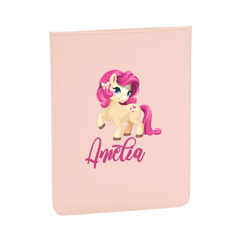 Personalised Name Initial Cute Pink Hair Horse Artwork - Boutique iPad slip - Ai Printing