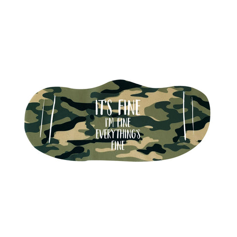 I'm Fine Funny Face Mask Quote - Camouflage Face Cover(face mask for sale,face protection mask,Funny Face mask,best face masks,reusable face mask,covid face mask,breathable face mask)