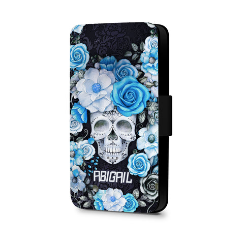 Personalised Name Initial Sugar Skull Blue Rose Floral Background - Personalised Faux Leather Case - Ai Printing