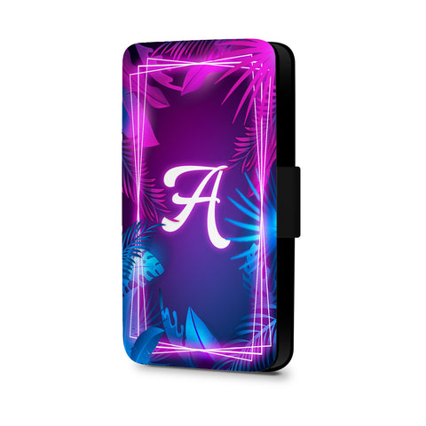 Personalised Name Initial Tropical Neon Background - Personalised Faux Leather Case - Ai Printing